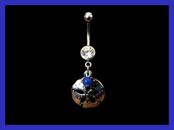 Sand Dollar Belly Ring with Blue Bead Accent