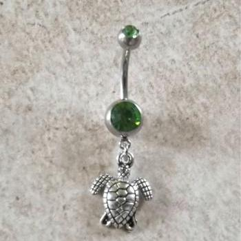 Turtle Belly Ring with Green Rhinestone Barbell Body Jewelry