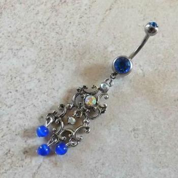 .Tribal Belly Ring with Blue Rhinestones and Blue Beads Body Jewelry