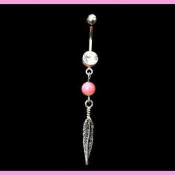 Feather and Pink Bead Belly Ring White Rhinestones