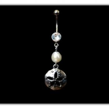 Sand Dollar Belly Ring with Fresh Water Pearl Accent