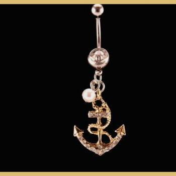 Anchor Belly Ring with White Rhinestone and Pearl Accent